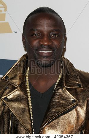 LOS ANGELES - FEB 9:  Akon arrives at the Clive Davis 2013 Pre-GRAMMY Gala at the Beverly Hilton Hotel on February 9, 2013 in Beverly Hills, CA