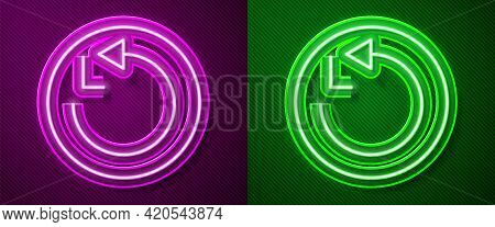 Glowing Neon Line Radius Icon Isolated On Purple And Green Background. Vector