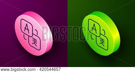Isometric Line Translator Icon Isolated On Purple And Green Background. Foreign Language Conversatio