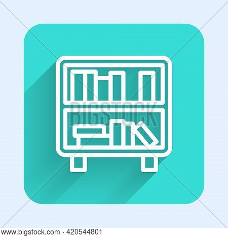 White Line Shelf With Books Icon Isolated With Long Shadow. Shelves Sign. Green Square Button. Vecto