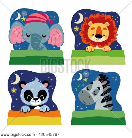 Set Of Animals In A Dream. Clipart Collection Of Sleeping African Animals. Vector Character Illustra
