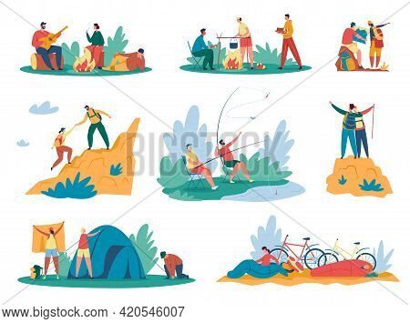 People Camping. Tourists Or Hikers With Backpacks Climbing Mountains, Sitting Near Bonfire, Cooking