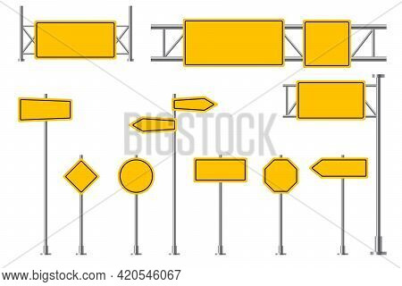 Yellow Road Signs. Blank Street Signage, Highway Traffic Attention, Safety Boads. Empty Round Rectan