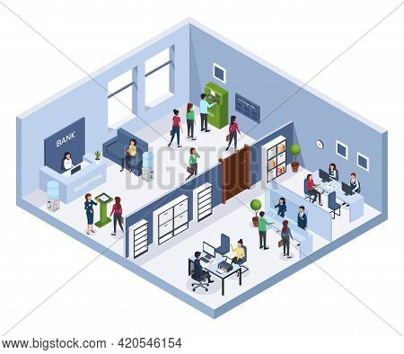 Isometric Bank Office. Reception, Waiting Area, Atm. Finance Consultants With Clients. Bank Interior