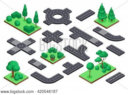 Isometric Road And Nature Elements. Asphalt Street, Ring Road, Crossroad. Tree Plants, Bushes For Ci