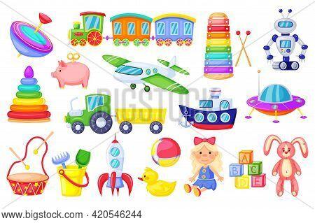 Kids Toys. Cartoon Rocket, Ship, Train, Cute Girl Doll, Duck, Plush Bunny, Alphabet Cubes. Colorful