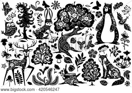 Scandinavian Forest Elements. Nordic Scandi Style Deer, Hare And Bear, Owl And Fox, Bird And Oak Tre
