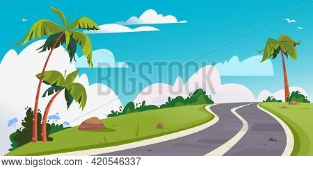 Vector Winding Road Surrounded By Palm Trees. Background With Beautiful White Clouds. Cartoon Track