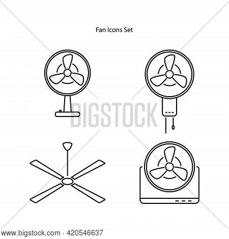 Fan Icons Set Isolated On White Background. Fan Icon Thin Line Outline Linear Fan Symbol For Logo, W