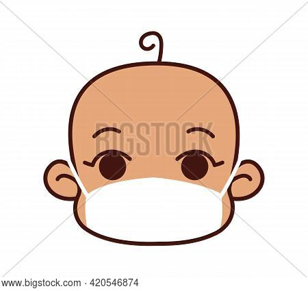 Little Boy Or Girl In A Protective Bandage. Child In A White Surgical Mask. Healing Mask To Protect