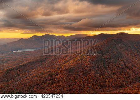 Table Rock State Park, South Carolina, USA landscape at dusk in autumn.