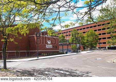 NORWALK, CT, USA - MAY 14, 2021:  Building facade from Maritime Aquarium an Norwalk view from Ann Street