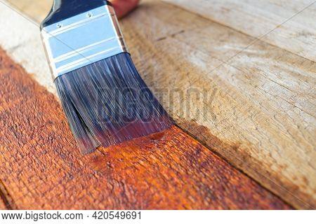 Wood Restoration Sealant Treatment Paintbrush Brushstroke Close-up
