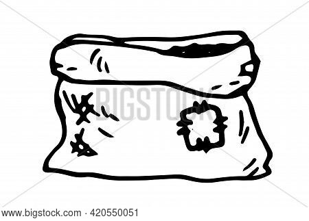 Vector Isolated Sack Of Soil. Hand-drawn Bag Open With Earth Made Of Burlap With A Patch, In Doodle