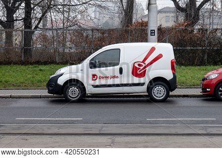 Ostrava, Czech Republic - December 31, 2020: Small White Fiat Fiorino Van Of Dame Jidlo Company Whic