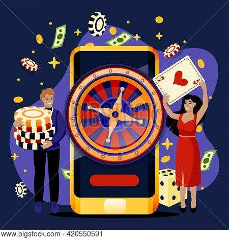 Online Casino Roulette And Gambling Games Concept. Vector Illustration. Man And Woman Playing Casino