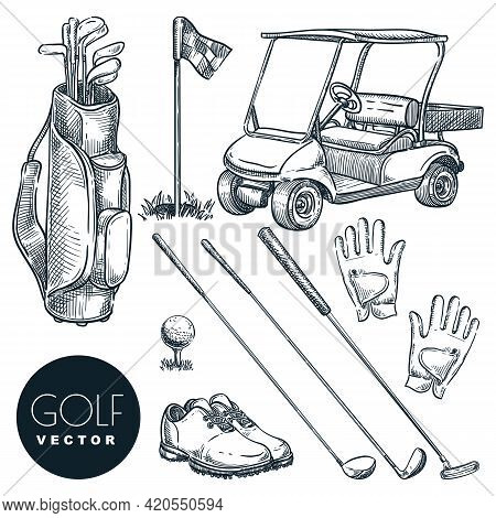 Golf Club Vector Hand Drawn Icons And Design Elements Set. Golf Cart, Ball, Club, Bag, Accessories S
