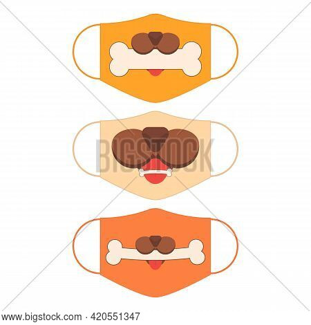 Set Of Designs Of Reusable Mouth Funny Masks With Dog Mouth And Bone In Vector.