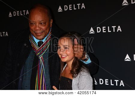 LOS ANGELES - FEB 7:  Quincy Jones, Emily Bear arrives at the Celebration of LA's Music Industry reception at the Getty House on February 7, 2013 in Los Angeles, CA
