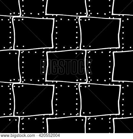 Vector Seamless Pattern Of Unequal Squares With Dots. Abstract Pattern Of Oblique Lines And Square S