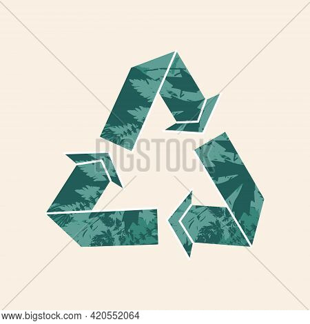 Recycle Symbol With Green Plant Leaf Trees Forest Texture. Eco-friendly Recycling Sign, Reuse Waste