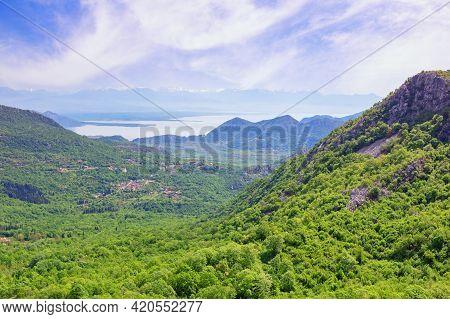 Beautiful Mountain Landscape. Montenegro.  National Park Lake Skadar On Sunny Spring Day. View Of La