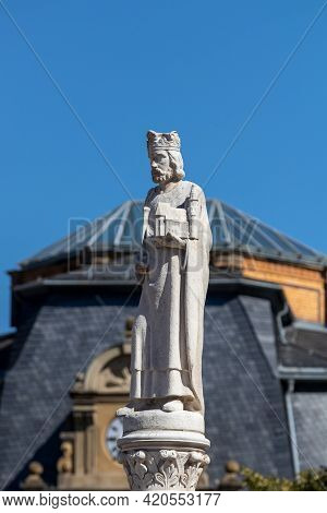 White Statue On A Fountain In The City Meiningen In Thuringia