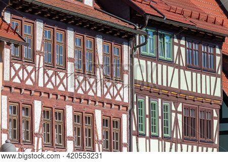 Street With Facades Of Historical Half-timbered Houses In Wasungen, Thuringia