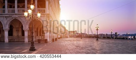 Banner, San Marco Square At Sunrise Early In The Morning. Venice Or Venezia City, Italy, Europe. Pan