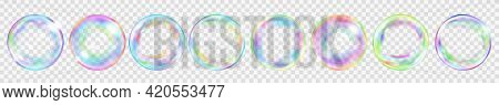 Set Of Several Translucent Colored Soap Bubbles For Use On Light Background. Transparency Only In Ve