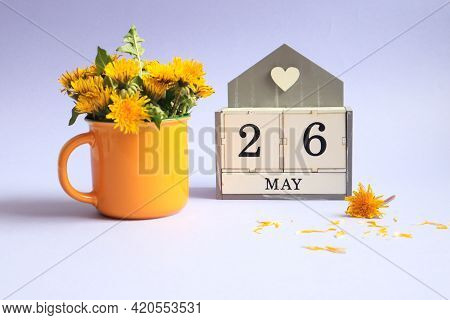 Calendar For May 26: Cubes With The Number 26, The Name Of The Month Of May In English, A Bouquet Of