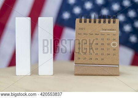 Remember 9 11, Patriot Day, September 11. Illustration Of The Twin Towers Representing The Number El