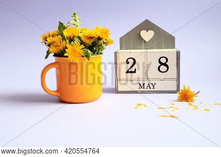 Calendar For May 28: Cubes With The Number 28, The Name Of The Month Of May In English, A Bouquet Of
