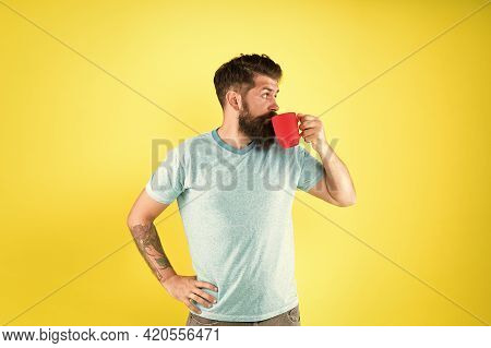 Hipster Tastes And Aesthetics. Energy Concept. Hipster Barista Yellow Background. Coffee Shop. Beard