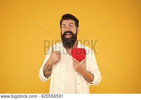 Healthy Habits And Lifestyle. Monitoring And Measuring. Man Bearded Hipster Hold Red Heart. Prescrib