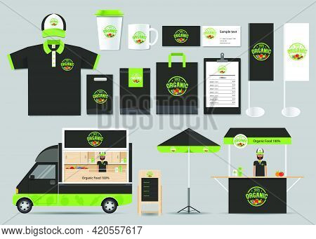 Illustration: Concept For Organic Food Shop And Restaurant Identity Mock Up Template. Corporate Iden