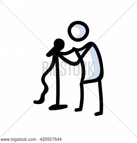 Hand Drawn Stick Figure Holding Microphone. Concept Of Comedian Performer. Simple Icon Motif For Sta