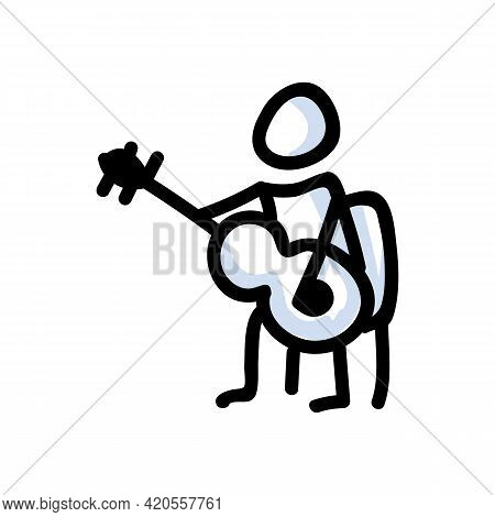 Hand Drawn Stick Figure Playing Guitar. Concept Of Musical Instrument Performer. Simple Icon Motif F