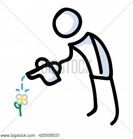 Hand Drawn Stick Figure Watering Daisy. Concept Of Gardening Growing Flowers For Yard Work Illustrat