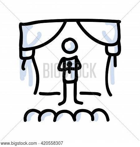 Hand Drawn Stick Figure Performer On Stage. Concept Of Theatre Audience Actor. Simple Icon Motif For