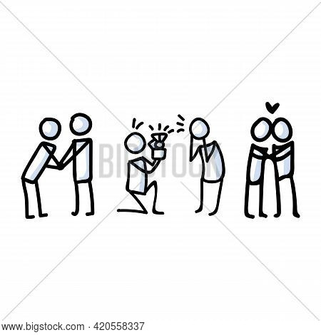 Hand Drawn Stick Figure Proposal And Hug. Concept Of Marriage Engagement Expression. Simple Motif Fo