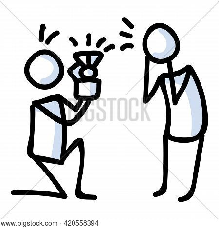 Hand Drawn Stick Figure Proposal Pose. Concept Of Marriage Engagement Expression. Simple Icon Motif