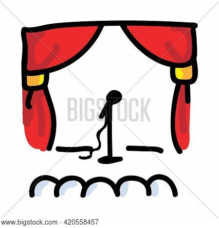 Hand Drawn Theatre With Microphone. Concept Of Theatre Audience. Simple Icon Motif For Comedy Perfor