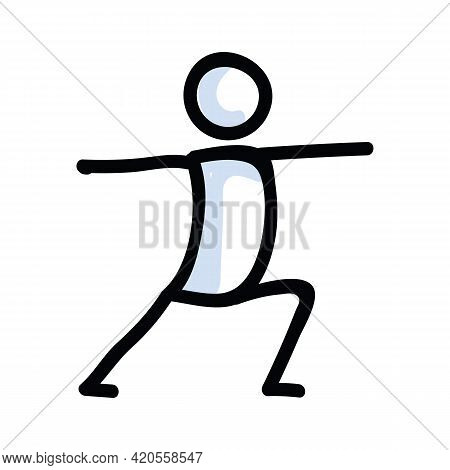 Hand Drawn Stick Figure Warrior Yoga Pose. Concept Of Stretching Excercise For Wellness Illustration