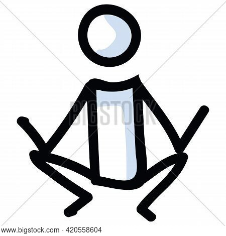 Hand Drawn Stick Figure Lotus Yoga Pose. Concept Of Stretching Excercise For Wellness Illustration.