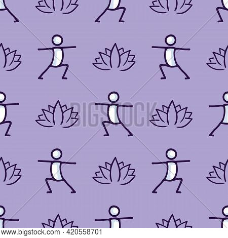 Stick Figure Warrior Yoga Pose With Lotus Flower Seamless Vector Pattern. Hand Drawn Peace Zen And W