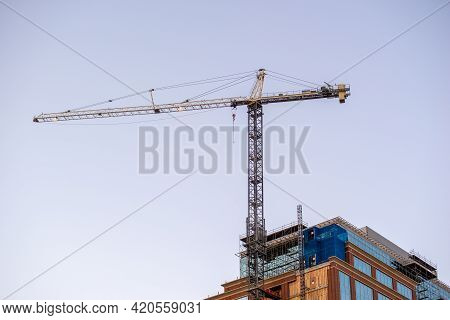 Highrise Building Under Construction Early Morning In The City