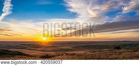 Beautiful Landscape Of Crop Fields In The Palouse Region Of Eastern Washington
