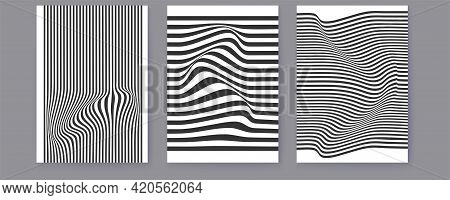 Set Of Layouts With Black And White Wavy Lines. Halftone Pattern. Abstract Background. Twisted Duoto