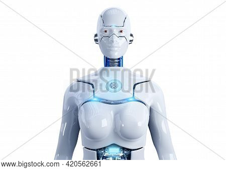 Advanced Female Humanoid Robot With Artificial Intelligence Isolated On White Background. Front Clos